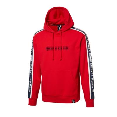 【PONY】時尚運動風帽T 大學T T恤 情侶款 女款 男款 紅色