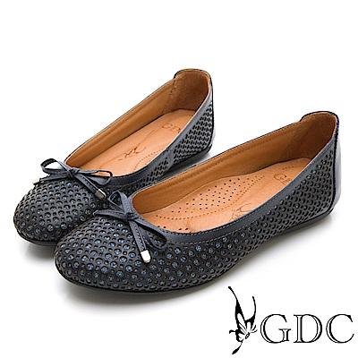 GDC-真皮特殊圓點蝴蝶結平底包鞋-藍色