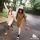 LOVE系列~KITTY刺繡純色連帽下襬荷葉長袖洋裝-OB嚴選