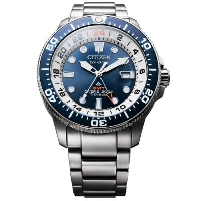 CITIZEN 星辰 限量 鈦 GMT光動能潛水錶-43mm(BJ7111-86L)
