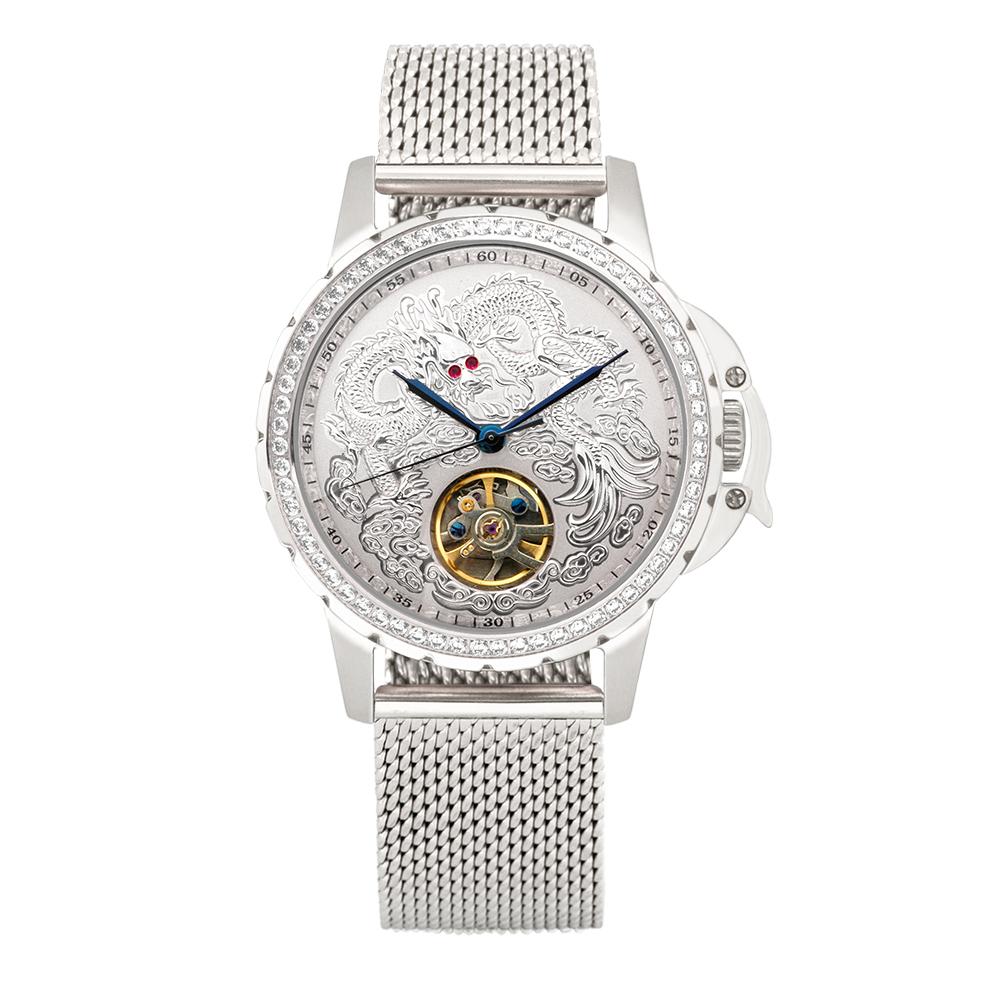 Manlike 曼莉萊克 豪華龍王限量機械錶 銀殻 銀面 米蘭帶