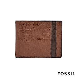 FOSSIL ENNIS RFID 撞色拼接經典男夾-咖啡色