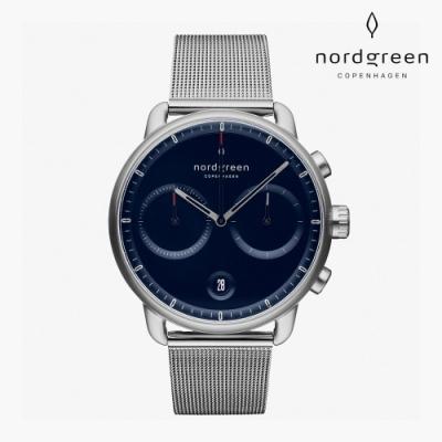 Nordgreen Pioneer 先鋒 月光銀系列 月光銀 鈦鋼米蘭錶帶手錶 42mm