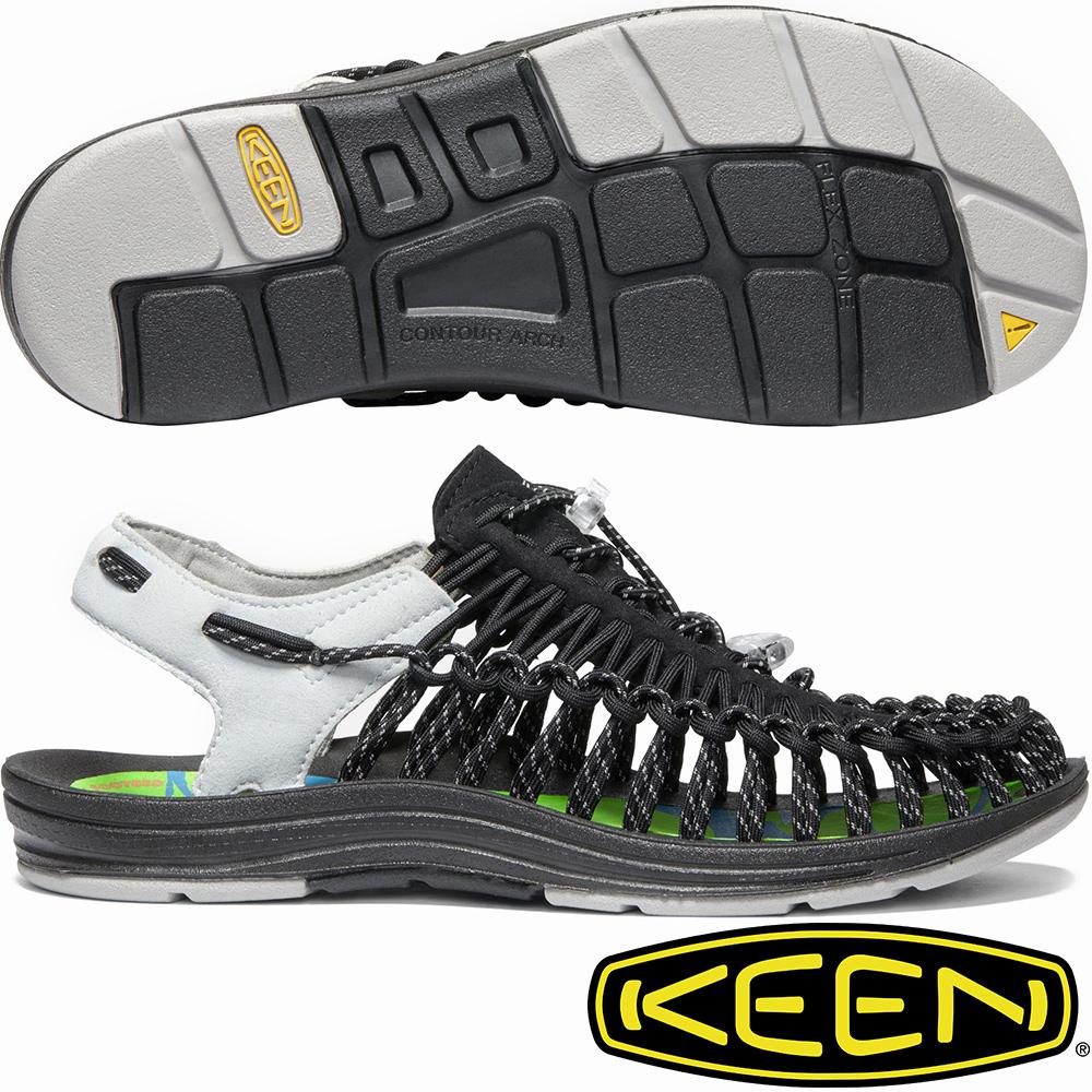 KEEN 1020777黑/灰 Uneek 男專業戶外護趾編織涼鞋