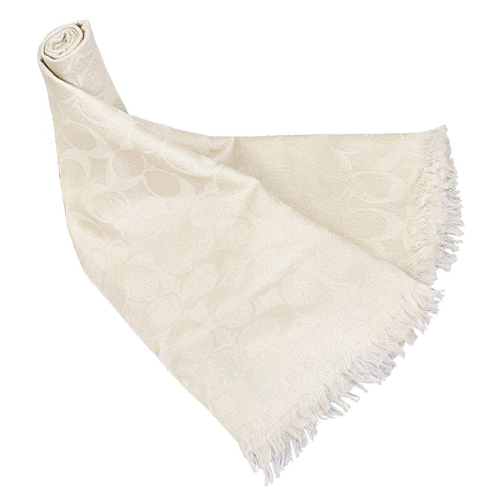 COACH 滿版LOGO珠光羊毛混絲披肩圍巾 米色