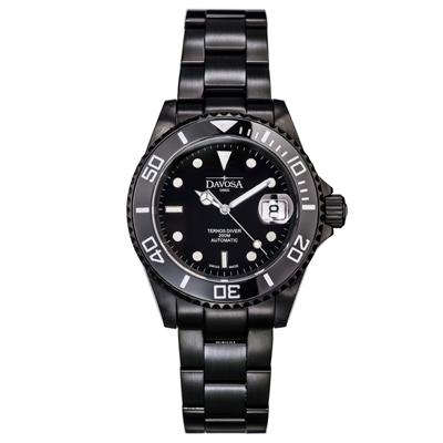 DAVOSA Black Ternos DLC金剛石黑碳陶瓷200米潛水腕錶-40mm