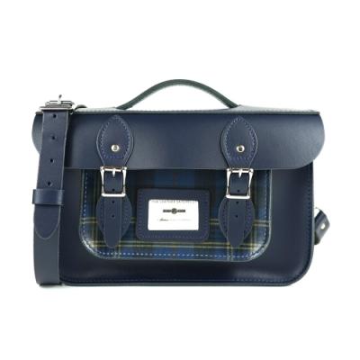 The Leather Satchel 英國手工牛皮三用相機包 手提 肩背 後背包 格紋藍