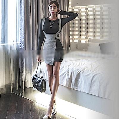 DABI 韓國風名媛修身不規則包臀顯瘦套裝長袖裙裝