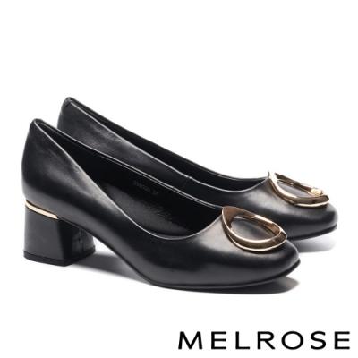 高跟鞋 MELROSE 知性典雅金屬釦飾羊皮方頭高跟鞋-黑