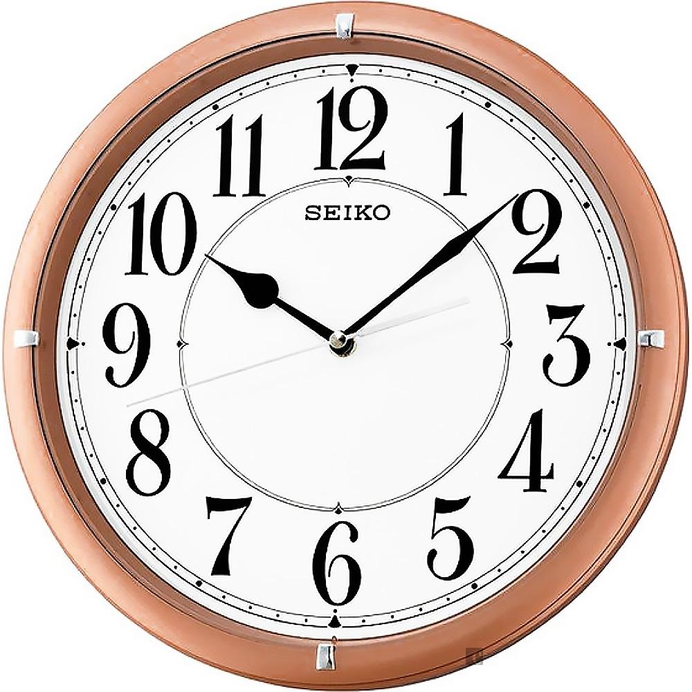 SEIKO 精工 指針式時尚掛鐘-粉框 QXA637P