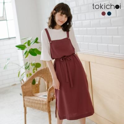 東京著衣 休閒舒適腰綁帶側開叉吊帶洋裝-S.M.L(共兩色)