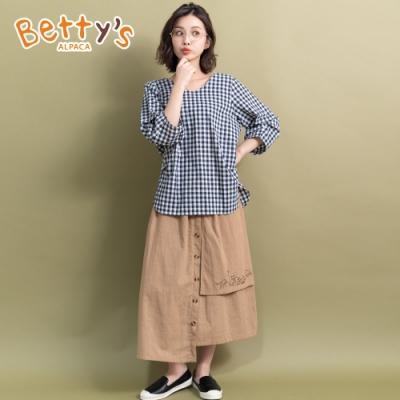 betty's貝蒂思 拼接層次動物繡線長裙(卡其)