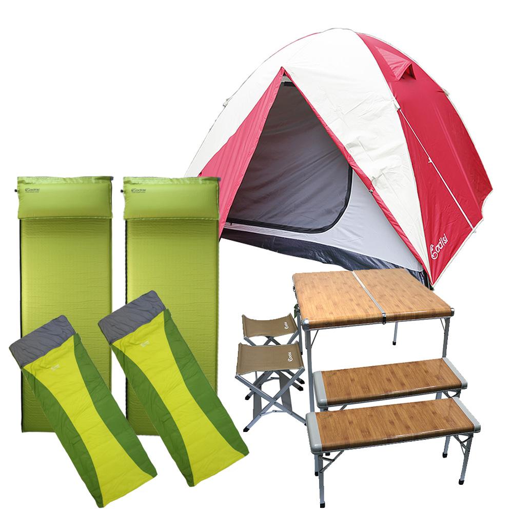 ADISI 懶人露營包 一帳兩睡墊一組合桌椅