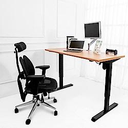 Birdie南亞塑鋼-艾迪4.7尺電動升降工作桌(原木紋)-140x70x70~120cm