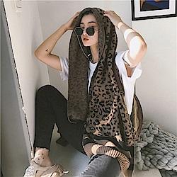 梨花HaNA 韓國豹紋東大門APM線條毛織圍巾