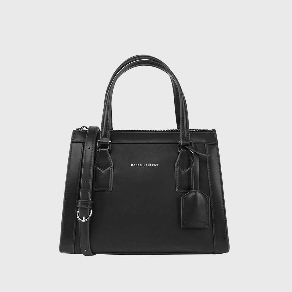 MARCO LAURENT Color block 皮框手提肩背包 - 黑色