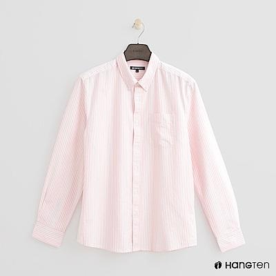 Hang Ten - 男裝 - 經典條紋襯衫-粉紅色