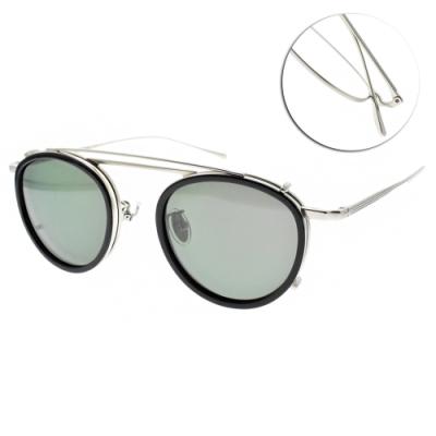 NINE ACCORD 光學眼鏡贈前掛式偏光墨鏡 圓框款 /霧銀  #TI OVERLAP C2