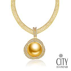 City Diamond引雅【東京Yuki系列】日本進口南洋金珠11mm水鑽項鍊-黃