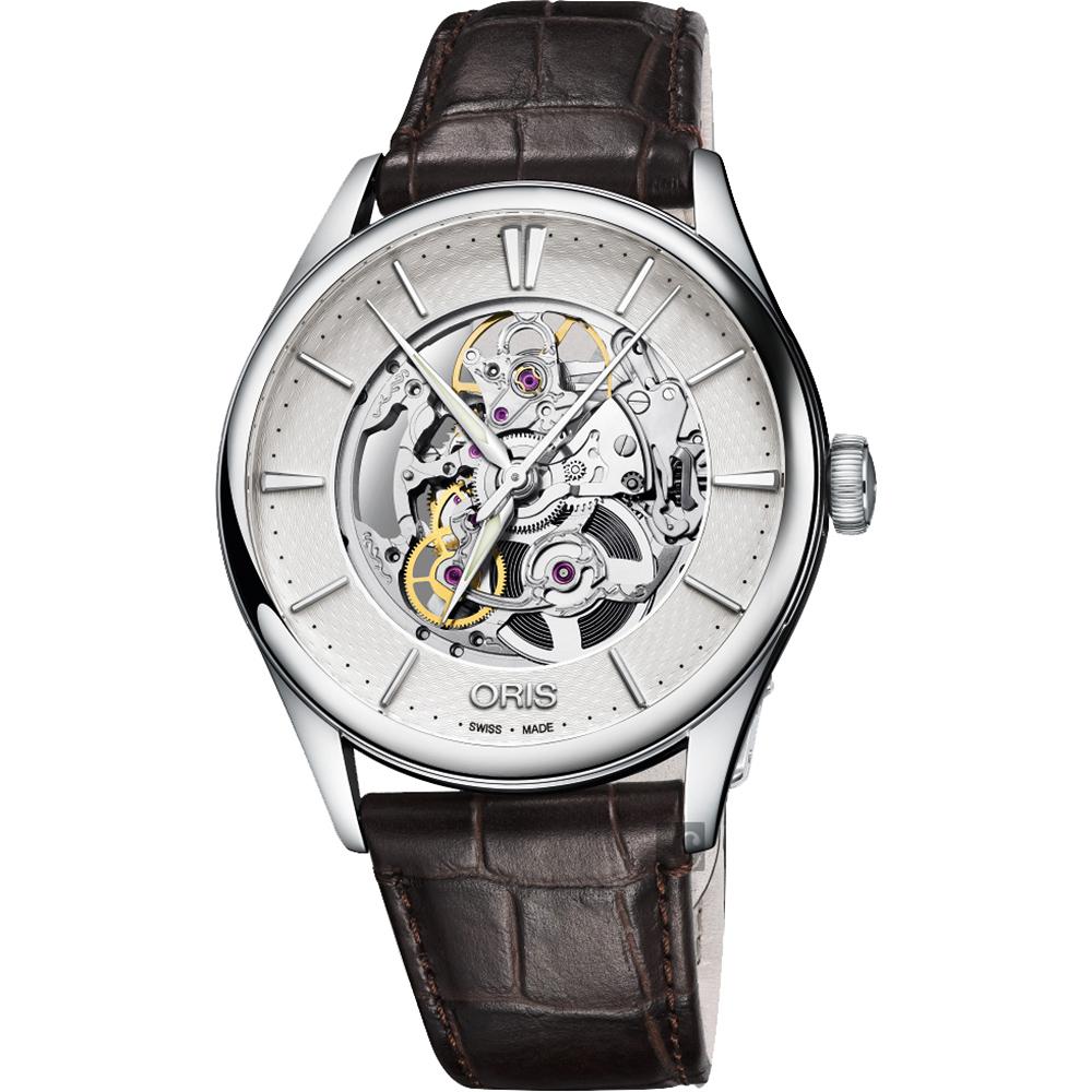 ORIS豪利時 Artelier Skeleton 雙鏤空機械錶-銀x咖啡色錶帶/40mm