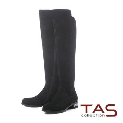 TAS前高後低素面拼接水鑽後跟長靴–時尚黑
