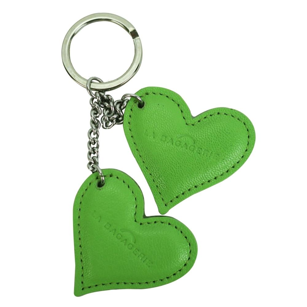 LA BAGAGERIE 牛皮雙心鑰匙圈(蘋果綠)