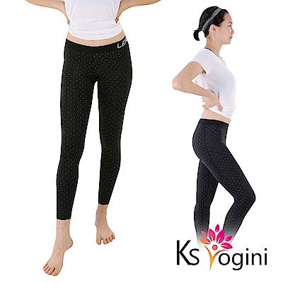 KS yogini 點點反光印 彈力修身運動褲 瑜珈褲 黑底小圓點