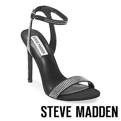 STEVE MADDEN-LANDEN-R 一字細踝帶水鑽高跟涼鞋-黑色