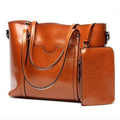 玩皮工坊-真皮油蠟牛皮女士可裝A4手提包子母包托特包女包LB137