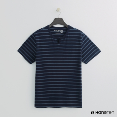 Hang Ten - 男裝 - 有機棉-簡約小開襟T桖 - 藍