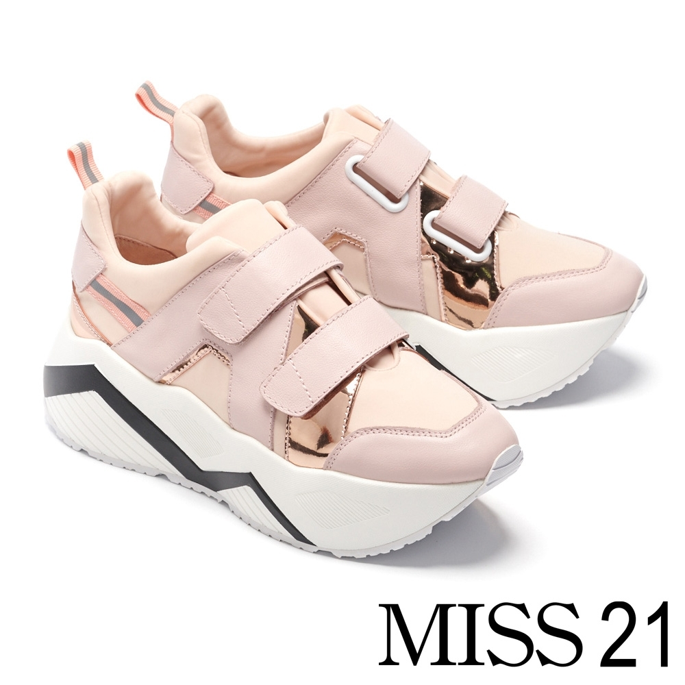 休閒鞋 MISS 21 前衛復古交織拼接設計條帶超厚底休閒鞋-粉