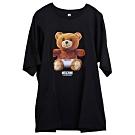 MOSCHINO 可愛小熊LOGO圖騰100%棉質長寬版T恤OVER SIZE(黑/L)