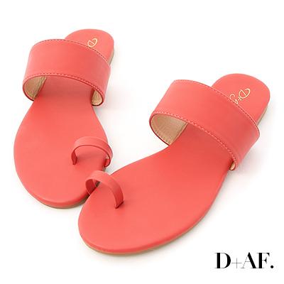 D+AF 夏日微醺.一字寬帶套指涼拖鞋*紅