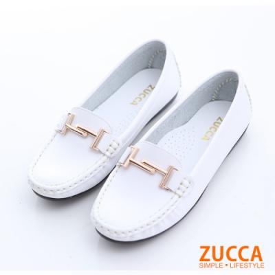 ZUCCA-金屬結扣環平底鞋-白-z6617we
