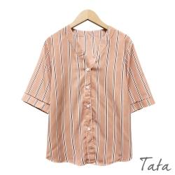 V領拼接條紋雪紡襯衫 共二色 TATA-F