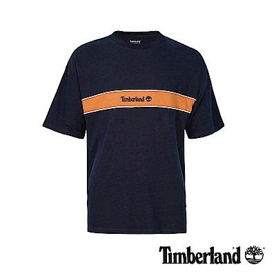 Timberland 男款深藍寶石色圓領撞色印花短袖T恤|A1OAF