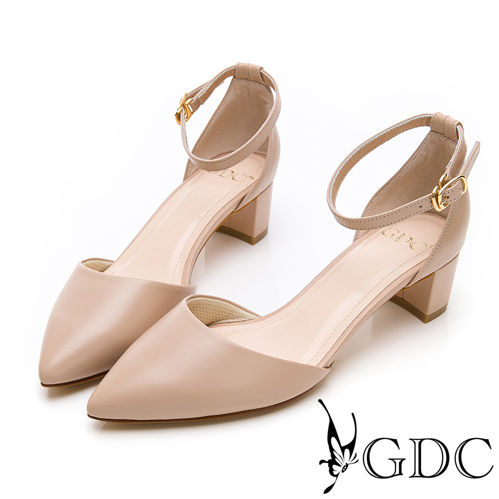 GDC-真皮尖頭中空粗跟淑女繞帶跟鞋-米色