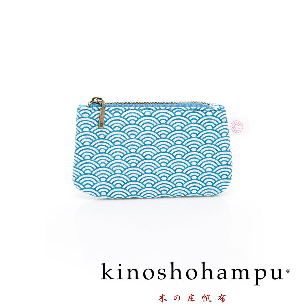 kinoshohampu貴族和柄帆布鑰匙包 青海波藍