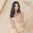 東京著衣-YOCO 清新碎花綁結縮腰魚尾一字領上衣-S.M.L(共兩色)