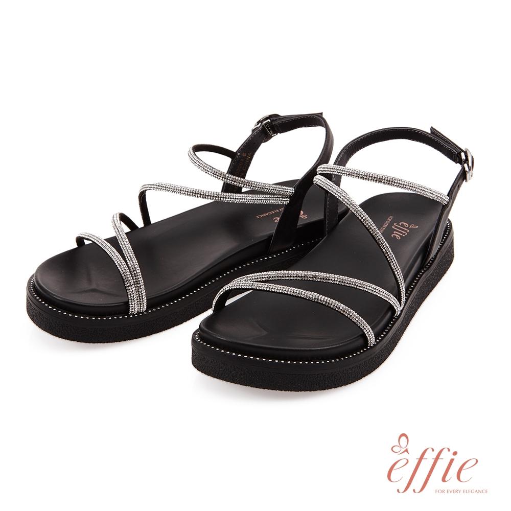 effie 夏日悠遊-羊皮點鑽厚底涼鞋(網獨款)-黑