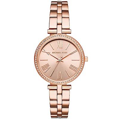 MICHAEL KORS 閃耀晶鑽時尚手錶(MK3904)-玫瑰金/34mm