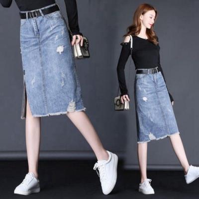 時尚的奧義小心機提臀側開叉牛仔裙(不含腰帶)S-2XL-WHATDAY
