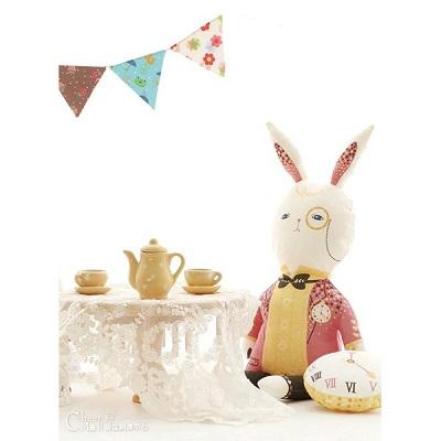 韓國進口圖案布 愛麗絲夢遊世界-兔子先生
