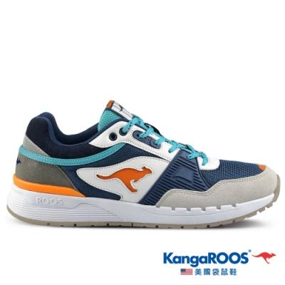 KangaROOS 美國袋鼠鞋 男 SHIELD 潮山野復古跑鞋(藍/橘-KM11186)