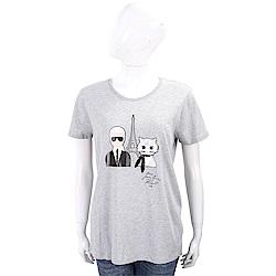 Karl Lagerfeld 鐵塔貓咪灰色棉質T恤
