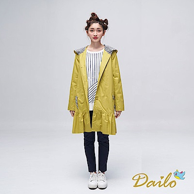 Dailo INLook 舒適棉質小動物造型口袋洋裝外套(綠)