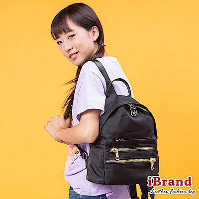 iBrand後背包 輕時尚拉鍊口袋尼龍後背包-黑