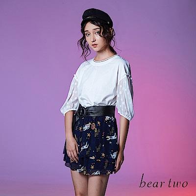 beartwo 星星泡袖五分袖造型上衣(兩色)