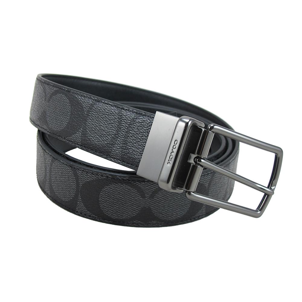 COACH經典PVC LOGO皮帶(黑灰金屬)