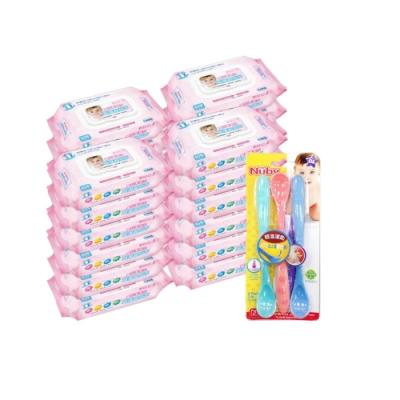 貝比Q EDI超厚超純水柔濕巾(80抽)x24包/箱/(無香料)+Nuby 易握型感溫湯匙(3入)/顏色隨機出貨*1